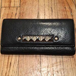 Henri Bender Black Leather Wallet with Jumbo studs